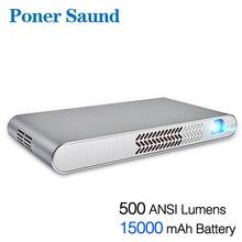 Poner Saund N1 DLP портативный проектор с аккумулятором 15000 мАч, мини-проектор, Android, wifi, Bluetooth, 1080 P, Full 3D HDMI, домашний кинотеатр, dlp