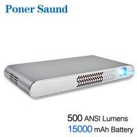 Poner saund N1 портативный проектор 15000 MAh Батарея Мини проектор Android Wi-Fi Bluetooth 1080 P Full 3D HDMI домашний кинотеатр dlp