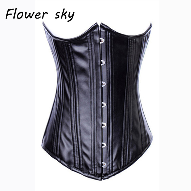 fe0d89deed Woman black Steampunk Spiral Steel Boned Corset Bustier underbust Faux  Leather Shaper Waist Cincher Top performance costume