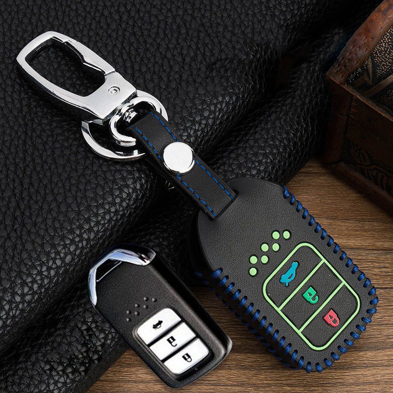 Image 2 - Hand sewing Luminous Leather Smart  Car Key Protect Cover Case For Honda Civic Accord EX EXL Crv Crz Hrv Shell Accessories-in Key Case for Car from Automobiles & Motorcycles
