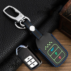 Image 2 - Hand sewing Luminous Leather Smart  Car Key Protect Cover Case For Honda Civic Accord EX EXL Crv Crz Hrv Shell Accessories