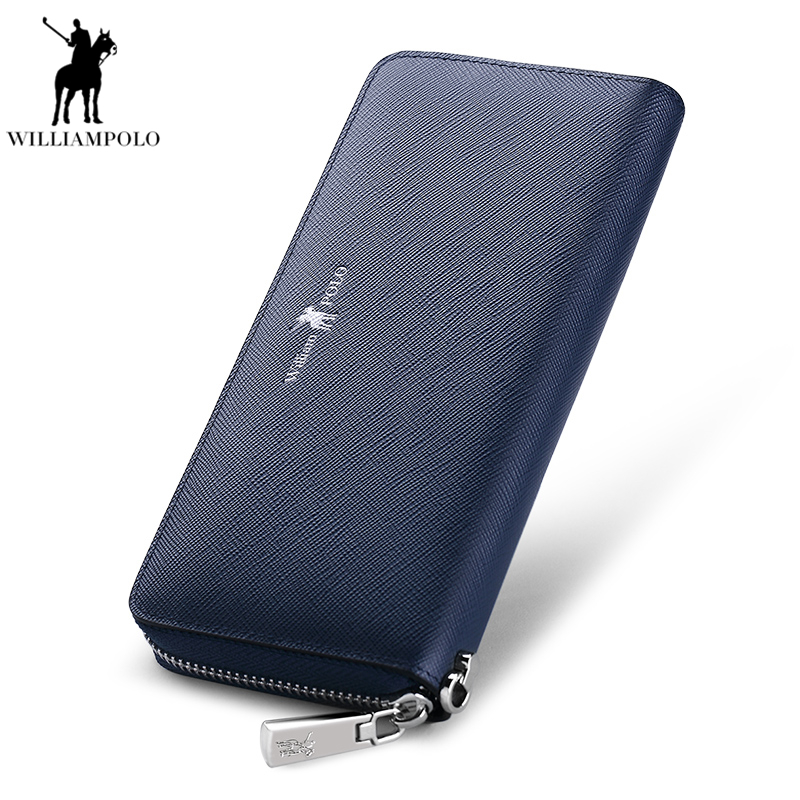 Williampolo Wallet Men Leather Genuine Alloy Zipper Long package Cow leather Clutch Handbag Classic Business Purse PL300