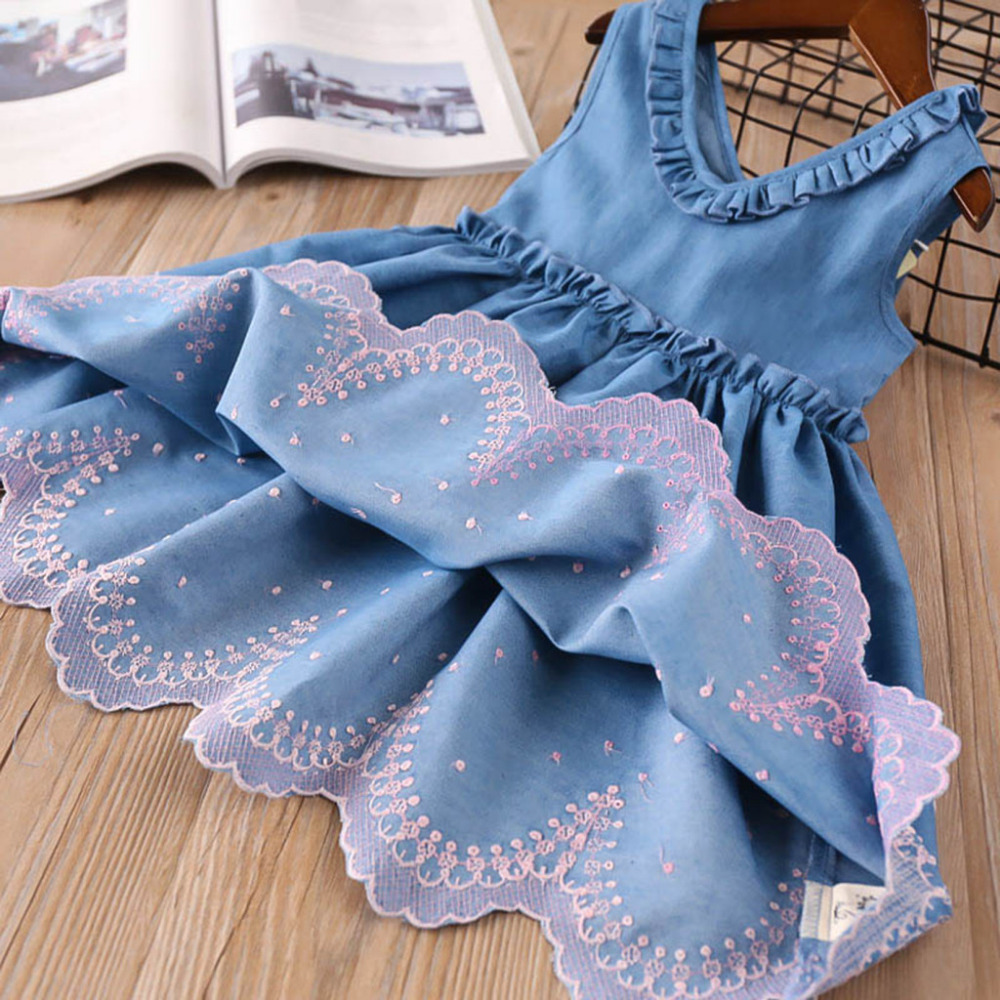 Toddler Baby Girls Clothes in Summer Embroidery Denim Dress Little Girls Pageant Princess Dress