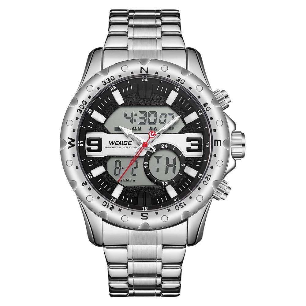 WEIDE Top Luxury Brand Quartz Watches Men LED Digital Clock Man Sports Military Stainless Steel Wrist Watch Relogio masculino 9