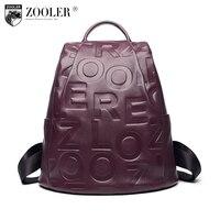 2018 Zooler Genuine Leather backpacks designed embossed letter pattern cowhide backpacks women travel bag quality Bolsas#d120