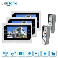 JeaTone Video Door Phone Intercom System 7 Color Touch Button Metal Panel Monitor 1200TVL IR Doorbell