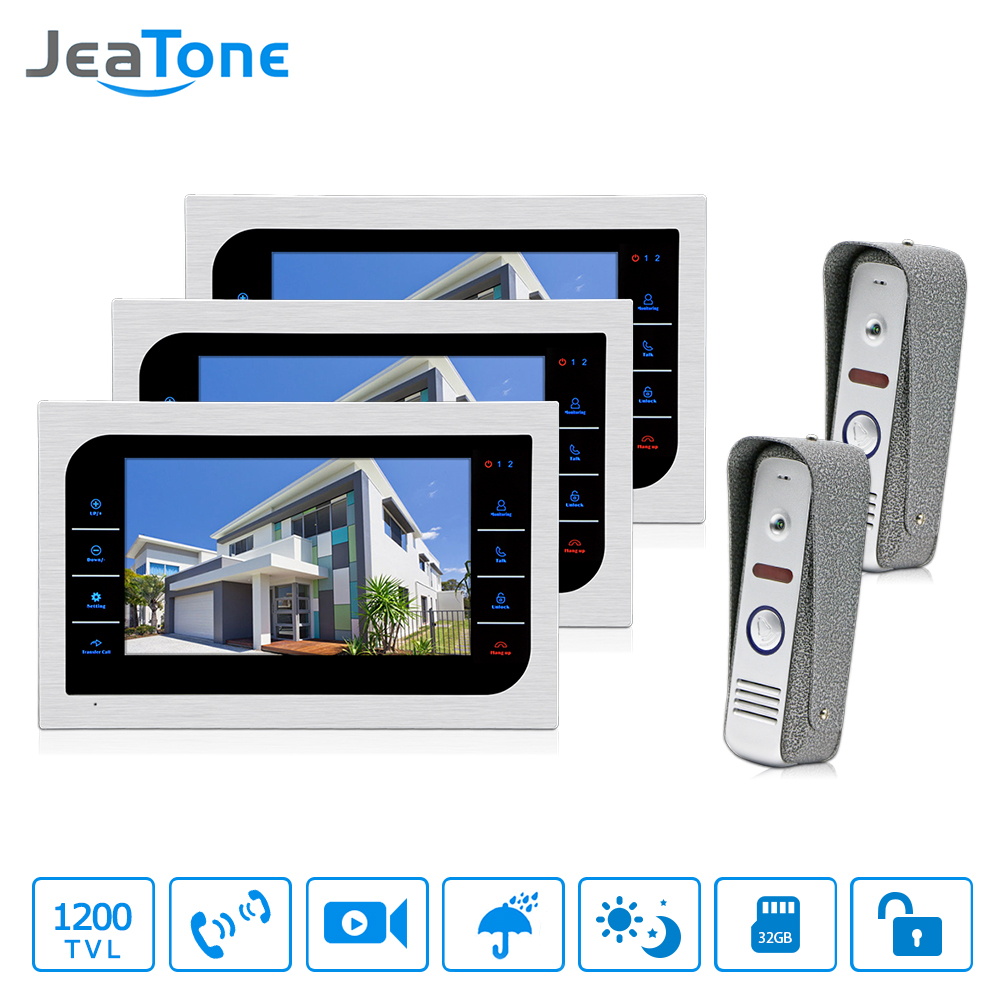 JeaTone Video Door Phone Intercom System 7 Color Touch Button Metal panel Monitor &  1200TVL  IR Doorbell Camera Home Kit 3v2 jeatone 7 lcd monitor wired video intercom doorbell 1 camera 2 monitors video door phone bell kit for home security system