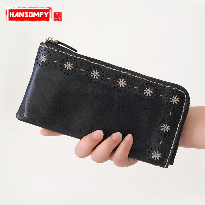 New Women Long wallet ladies leather handbags large capacity female bag Korean multi-functional zipper hand Vintage wallet