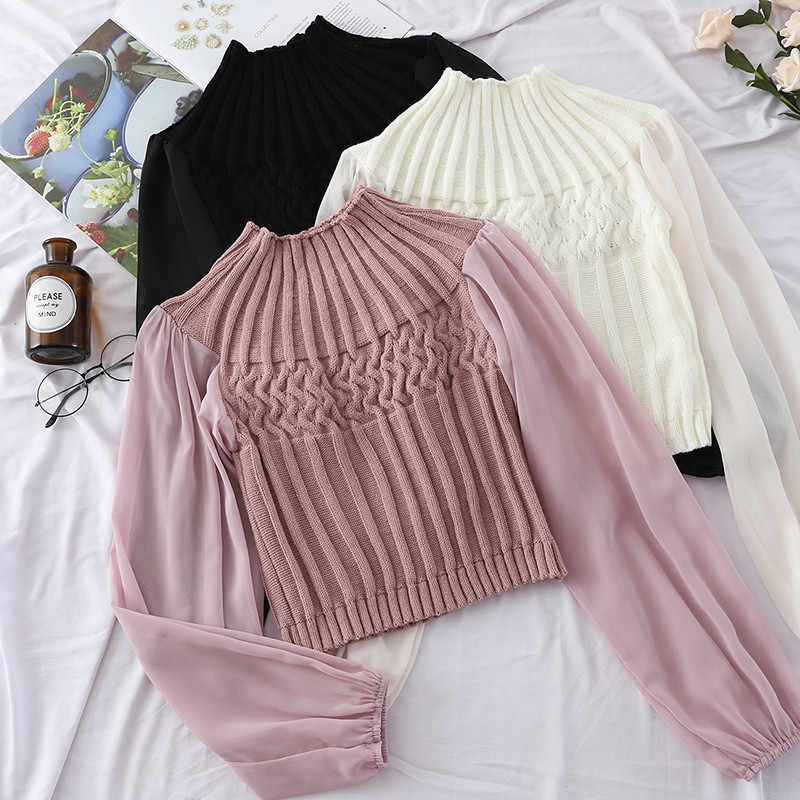 Autumn Women Turtleneck Knitted Pullovers Chiffon Patchwork Sweater Ladies Bottoming Lantern Sleeve Knitwear Short Tops AB1135