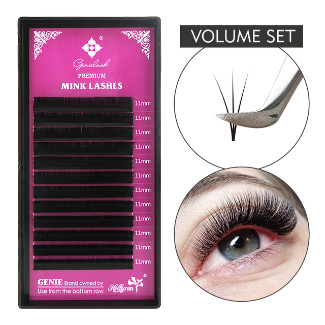 GENIELASH All Size Individual Eyelash Extension Supplies BCDD+ Curl Volume Lash Extension supplies Mink Individual Eyelashes