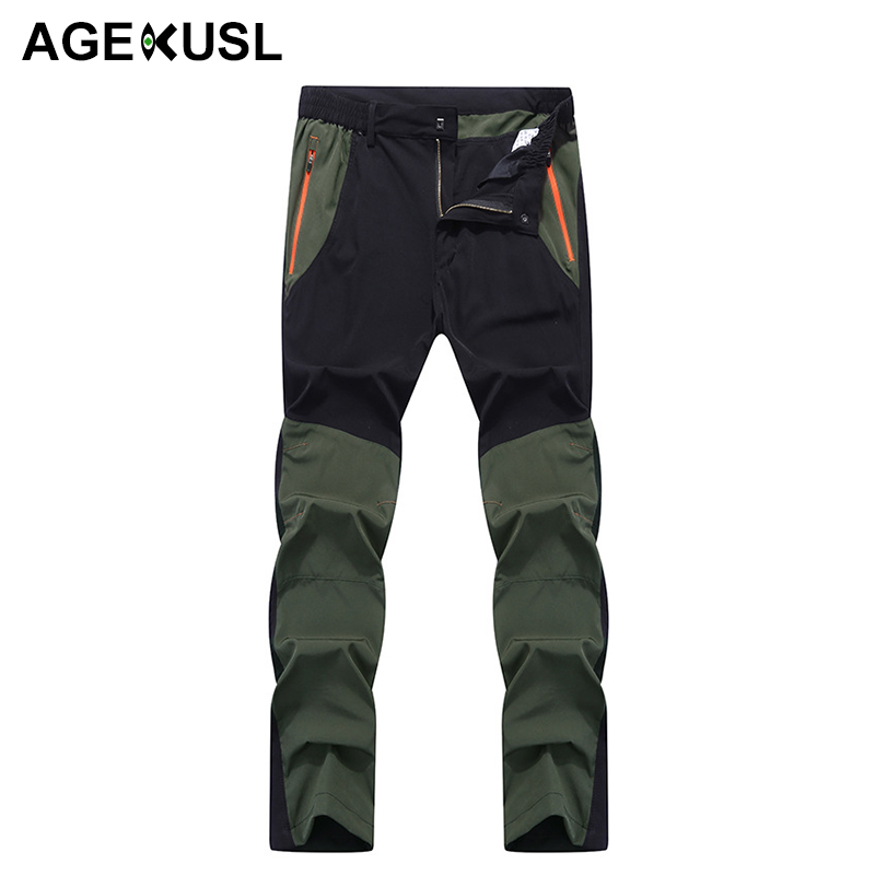 AGEKUSL Water Resistant Summer Men Classic Pants Quick Dry Elastic Hiking Camping Cycling Bike Bicycle Durable Outdoor Trousers nuckily ns357 men s quick dry outdoor cycling short pants black m