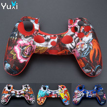 YuXi Soft Silicone Camo Protective Cover Skin Rubber Case For Sony Dualshock 4 PS4 DS4 Pro Slim Controller ivyueen 9 in 1 for dualshock 4 ps4 slim pro controller studded skin premium protective anti slip soft silicone grip case cover