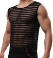 Hombres Sexy Ropa Interior Del Sexo Masculino Raya Ropa Opacidad Gay Malla Camisas Ropa de Hombre Camisetas Interiores Chaleco Tank Tops