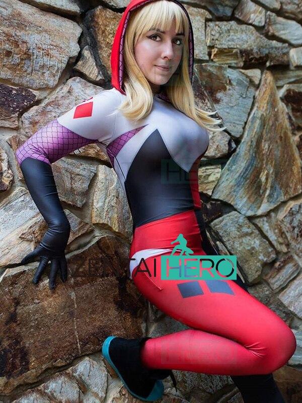 Free Shipping 3D Printed Gwen Harley Spider-Man Cosplay Costume Hooded Spiderman Superhero Costume Halloween Costume Bodysuit