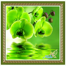 flower orchid Modular dmc beadwork 3046R - Square diamond mosaic painting Diamond embroidery cross stitch