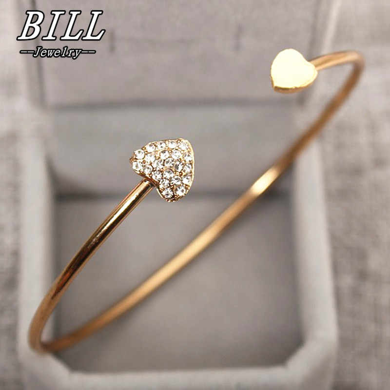 Open Cuff Punk Bracelets & Bangle Fashion Jewelry For Women Men pulseras mujer Heartbeat Leaf Arrow Triangle Heart Bracelet HOT
