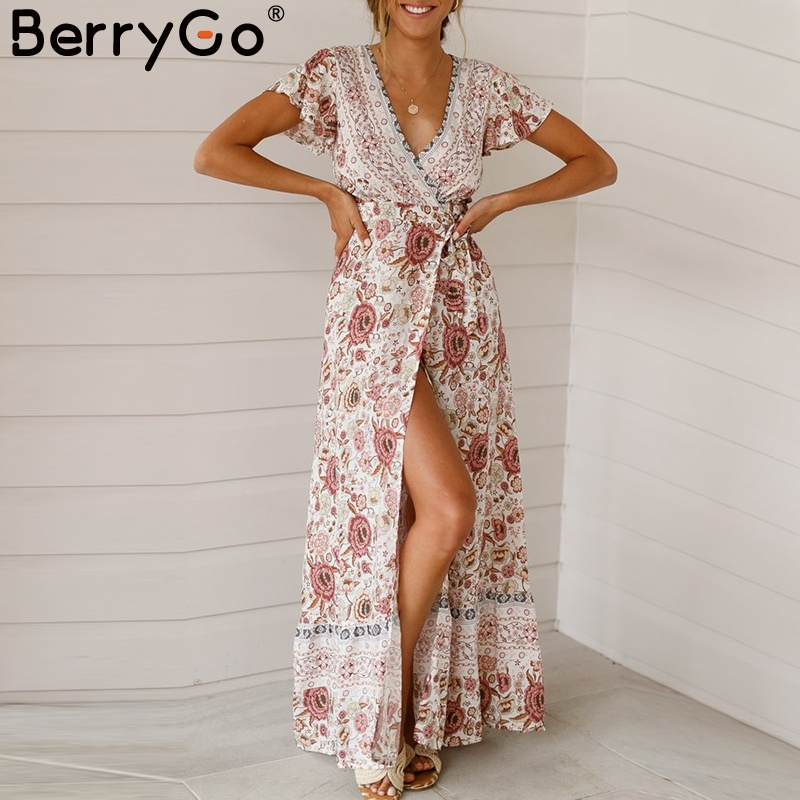 BerryGo Vintage floral print summer dress Ruffle sleeve sash sexy long dress Bohemian women dress holiday beach dress vestidos Платье