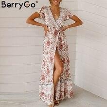 BerryGo Vintage floral print summer dress Ruffle sleeve sash sexy long dress Bohemian women dress holiday beach dress vestidos