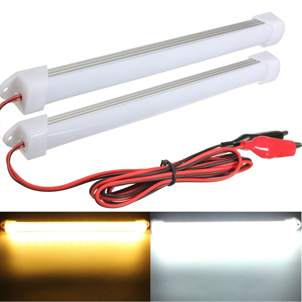 2015 new 2pcs 12v led car interior light bar tube strip lamp van boat caravan motorhome in car. Black Bedroom Furniture Sets. Home Design Ideas