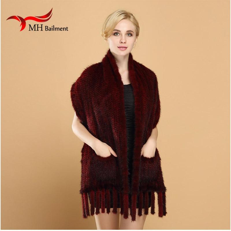 Женский вязаный натуральный норковый мех шарф с кистями Зимний теплый норковый мех вязаные шарфы теплый воротник натуральный мех шаль 175X50 см S#16 - Цвет: Бургундия