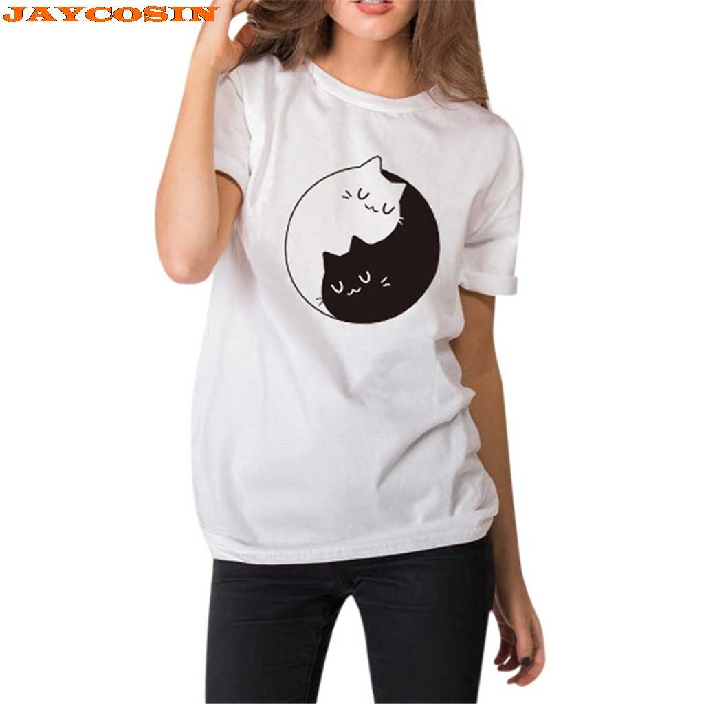 JAYCOSIN Hot High Quality Fashion Design Women Girl Summer Cute Cat Print Casual Crewneck Tops Tee Shirts New