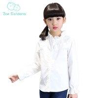 Zoe Saldana Girl S Shirt 2017 New Spring Autumn Teenager Girls Lace Ruffle Collar Solid Blouse