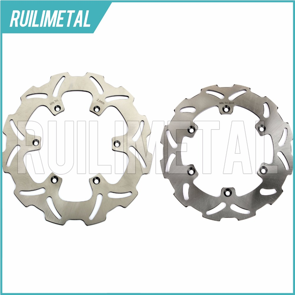 Stainless Steel High Quality Full Set Front Rear Brake Discs Rotors for RM 125 1988-1999 250 RMX S 250 DRZ E S 400 2000-2012 300mm 220mm 3pcs new motorcycle full set front rear brake discs rotors for yamaha yzf r6 2003 2004 03 04