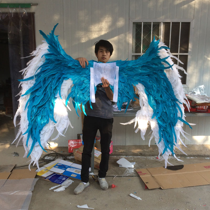 White with blue large adult angel wings props catwalk underwear show props festival Angel Feather wing cosplay costume