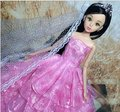 Multi-lace Wedding Party Gown Dress for Barbie Doll Princess Luxurious Clothes Great Gift Pink Four Layers Model Without Veil
