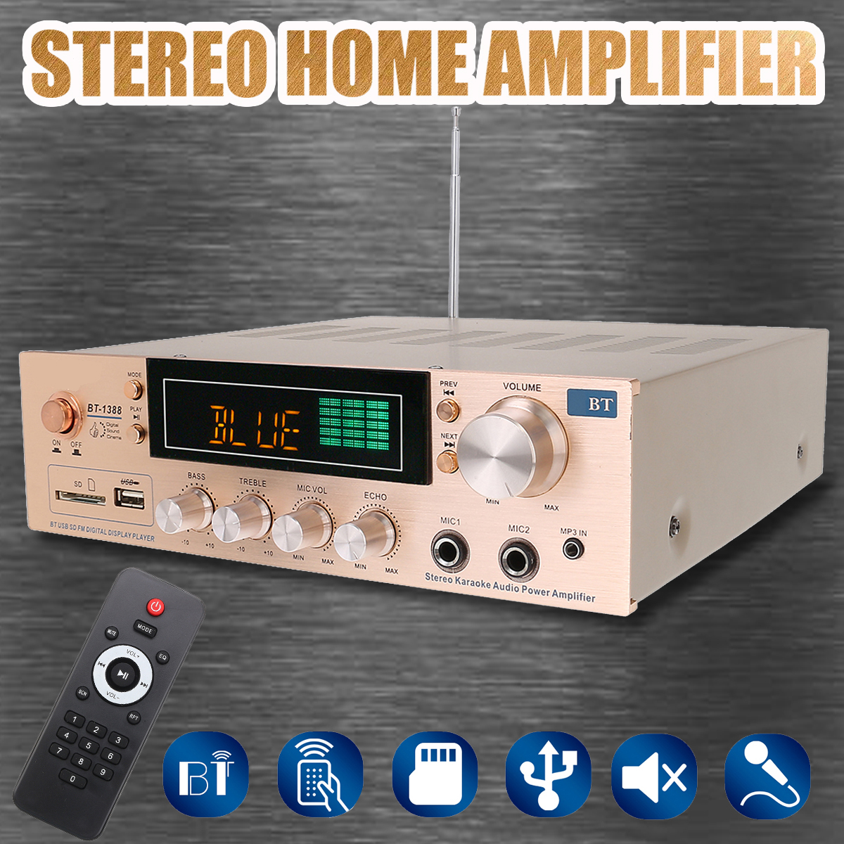 800W HIFI Bluetooth 2 Channel Home Power Stereo Amplifier Karaoke FM USB SD Bluetooth Stereo Amplifier Home Theater Amplifiers 800w universal bluetooth car auto stereo power amplifier car sound wireless amplifier 2 channel eq hifi stereo audio amplifiers