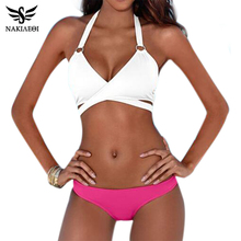 NAKIAEOI 2017 Sexy Criss Cross Bikini Brazilian Bandage Swimsuit Women Push Up Swimwear Bikini Set Wrap Top Bathing Suit Biquini