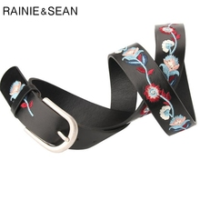 RAINIE SEAN Vintage Leather Belt Women Embroidered Flower Casual For Trousers Ethnic Pin Buckle Ladies Chinese