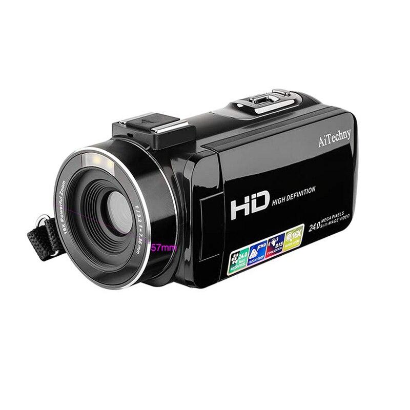 Caméscope, caméra vidéo numérique Full Hd 1080P 24.0Mp 3.0 pouces Lcd 270 degrés écran rotatif 16X Zoom numérique caméra enregistreur