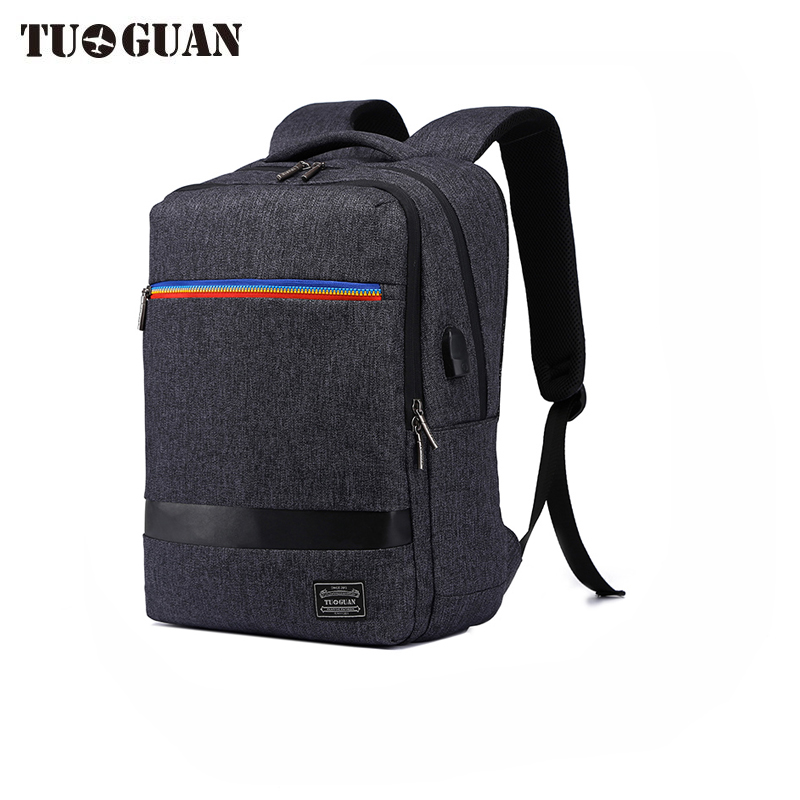 TUGUAN Notebook bag External USB Anti-theft Charging Waterproof Laptop Backpack for Men and Women Business Travel Computer Bag kingsons external charging usb function school backpack anti theft boy s girl s dayback women travel bag 15 6 inch 2017 new