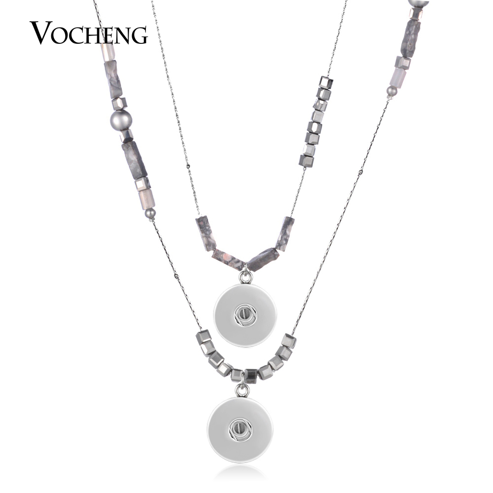 10pcs lot Vocheng Ginger Snap Necklace Vintage Semi precious Stone Stainless Steel Bead Jewelry for 18mm