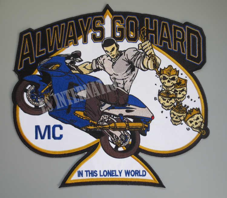 11.8 pouces de gros patchs de broderie pour veste arrière gilet moto Club Biker MC coudre sur le crâne toujours aller dur dans ce solitaire