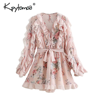 Vintage Sweet Ruffles Floral Print Bow Tie Sashes Playsuits Women 2019 Fashion Elastic Waist Beach Jumpsuits Casual Body Femme