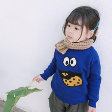 ANKRT 18 Winter New KidsBiscuits, Monster Sweaters, Boys and Babies Plus Flannel Cartoon Knitted Blouses.12M-6T