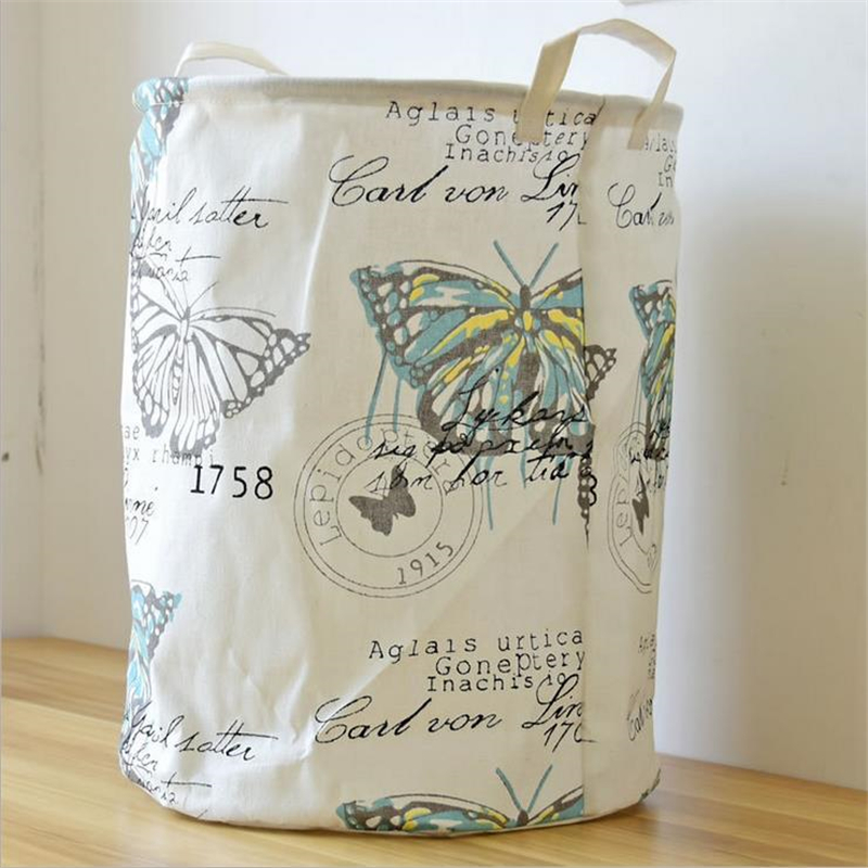 Doreen Box 35x45cm Home Sundries Storage Barrel Butterfly Linen Bag Dust-proof Waterproof Folding Dirty Clothes Laundry Basket