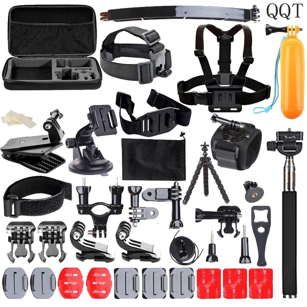 QQT for Gopro accessories set for go pro hero 6 5 4 3 2 mounting kit for SJ4000 Eken / SOOCOO / xiaomi yi 4 k tripod camera for go pro cnc aluminum alloy tripod mount base tripod adapter for gopro hero 5 4 3 3 2 1 sj4000 for xiaomi yi sports camera