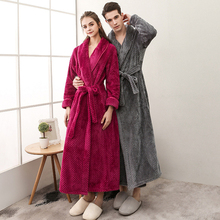 8cc85b820ff Women Men Flannel Bath Robe Sleepwear 2018 Winter Solid Couple Bathrobe  Dressing Gown Thick Warm Long