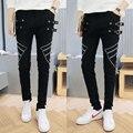 Non Mainstream Zipper Belt Compression Tights Skinny Pants Cotton Linen Mens Fashion Leggings Mens Casual Pants Hip Hop Joggers