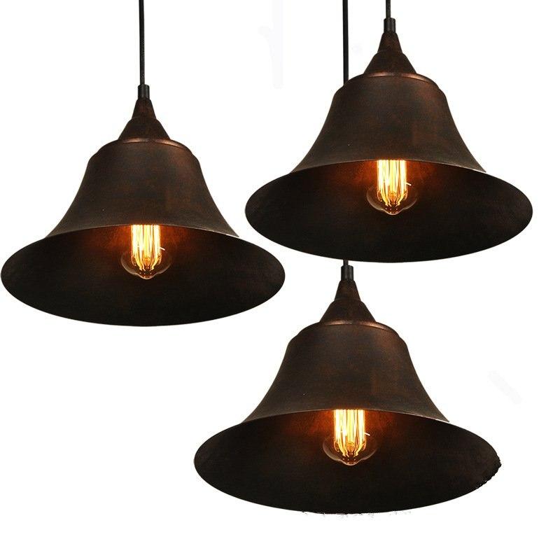 Vintage Pendant Lamp Loft Nordic Porous Retro E27 Iron Wall clock Lampshade Bar Restaurant Lamp Industrial Wind Pendant Lamp