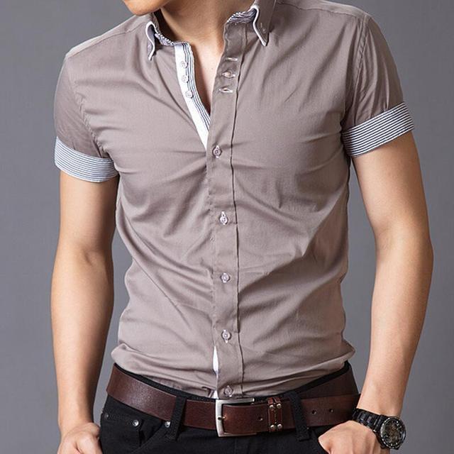 Heren Overhemd Casual.M 3xlsummer Stijl Effen Kleur Shirt Mens Casual Kleding Mannen Slim