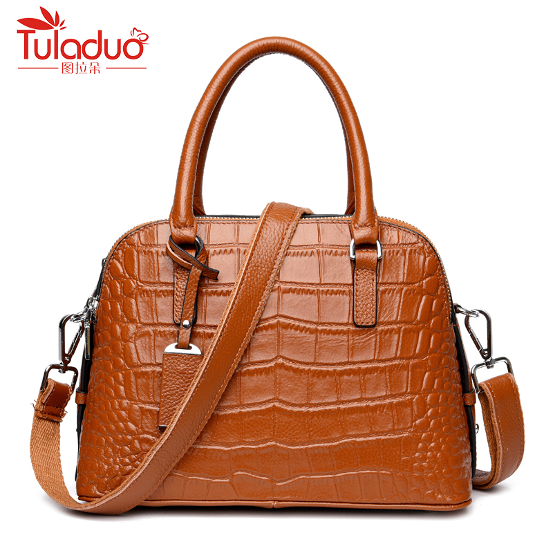 цена на Fashion Women Shoulder Bags High Quality Crocodile Pattern Bag Large Capacity Women Genuine Leather Handbags Designer Ladies Bag
