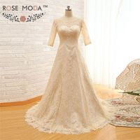 Real Sample Champagne High Neck Lace A Line Wedding Dress With Three Quarter Sleeve