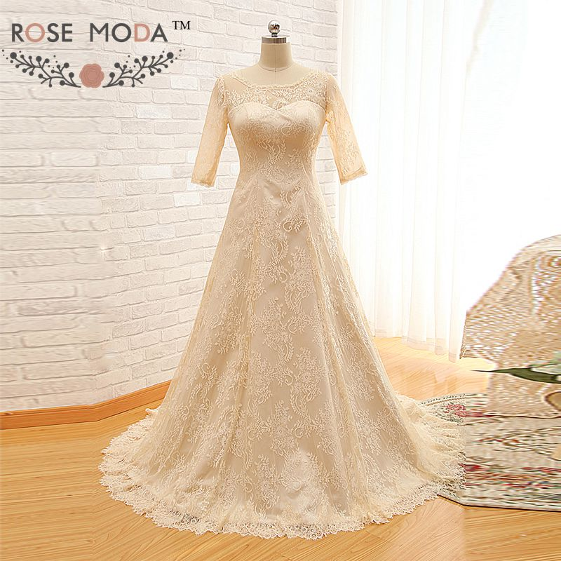 Rose Moda Vintage Long Sleeves Wedding Dress Champagne