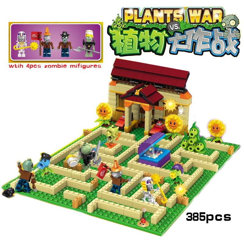 New arrive plants vs zombies Garden maze struck game action toy figures anime figure Building Blocks