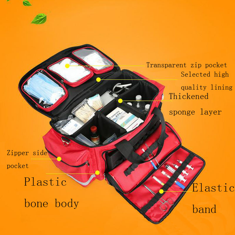 Image 2 - Outdoor First Aid Kit Outdoor Sports Red Nylon Waterproof Cross Messenger Bag Family Travel Emergency Medical Bag DJJB020-in Emergency Kits from Security & Protection
