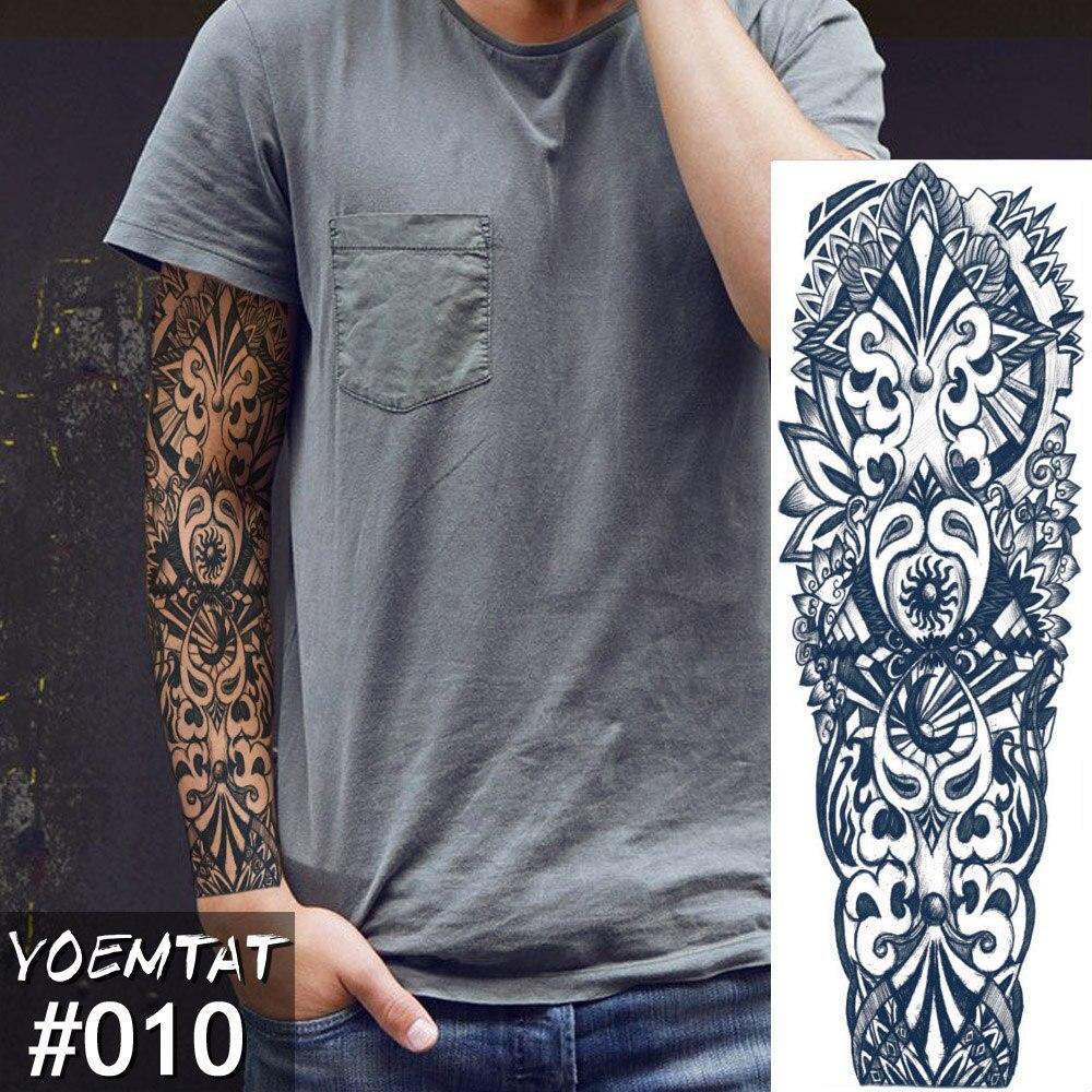 Realistic New 1 Piece Temporary Tattoo Sticker Totem Skull Clock Time Tattoo With Arm Body Art Big Sleeve Large Fake Tattoo Sticker Modern Design Temporary Tattoos
